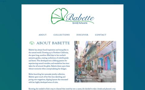 Screenshot of About Page babetteshennan.com - About — Babette Shennan - Fine Jewelry - captured Sept. 30, 2014