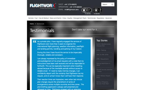 Screenshot of Testimonials Page flightworx.aero - Testimonials - What Our Customers Say About Us - captured Oct. 10, 2018