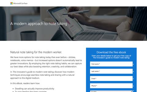 Screenshot of Landing Page microsoft.com - Natural note taking for the modern worker | Microsoft - captured Sept. 7, 2017