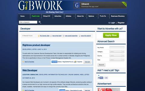 Screenshot of Developers Page gibwork.com - Developer Archives « GIBWORK GIBWORK - captured Sept. 29, 2014