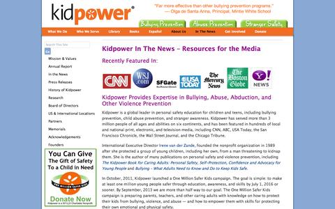 Screenshot of Press Page kidpower.org - Kidpower In The News - Resources for the Media | Kidpower Teenpower Fullpower International - captured Sept. 24, 2014