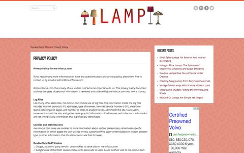 Screenshot of Privacy Page me-infocus.com - Privacy Policy | Lamps - Part 1 - captured Oct. 3, 2014