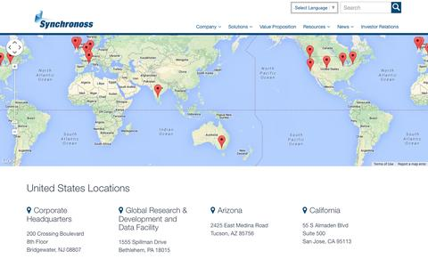 Screenshot of Locations Page synchronoss.com - Offices Archive - Synchronoss - captured Sept. 16, 2014