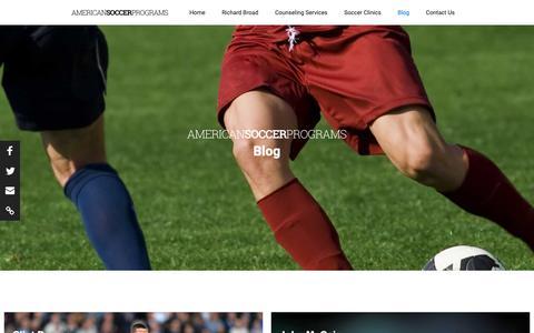 Screenshot of Blog americansoccerprograms.com - American Soccer Programs Blog - captured Nov. 29, 2018