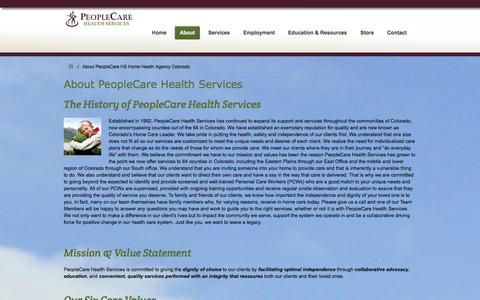 Screenshot of About Page peoplecarehs.com - About PeopleCare HS Home Health Agency Colorado PeopleCareHS - captured Jan. 27, 2016