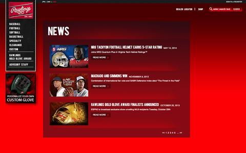 Screenshot of Press Page rawlings.com - Rawlings - News - captured Sept. 19, 2014