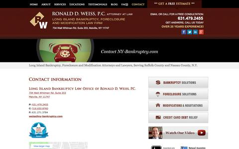 Screenshot of Contact Page ny-bankruptcy.com - Contact Us     Long Island, Nassau and Suffolk County Bankruptcy and Foreclosure Attorney   NY-Bankruptcy.com   Ronald D. Weiss, PC - captured April 24, 2018