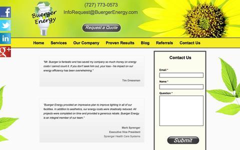 Screenshot of Testimonials Page buergerenergy.com - Testimonials - Buerger Energy - captured Sept. 30, 2014