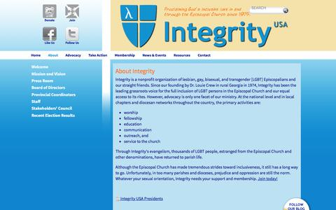 Screenshot of About Page integrityusa.org - About Integrity - captured Jan. 9, 2016