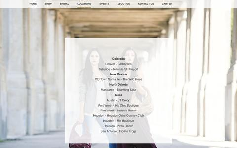 Screenshot of Locations Page juliebethhandbags.com - Locations - JulieBeth Handbags - captured Jan. 9, 2016