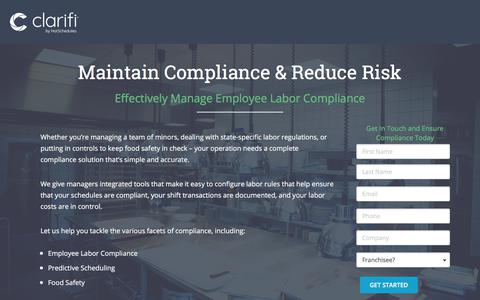 Screenshot of Landing Page hotschedules.com - HotSchedules - Maintain Compliance and Reduce Risk - captured April 14, 2018