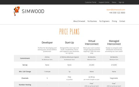 Screenshot of Pricing Page simwood.com - Pricing | Simwood - captured Oct. 20, 2018
