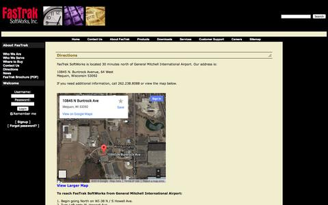 Screenshot of Maps & Directions Page fast-soft.com - FasTrak SoftWorks, Inc.: Directions - captured Oct. 5, 2014