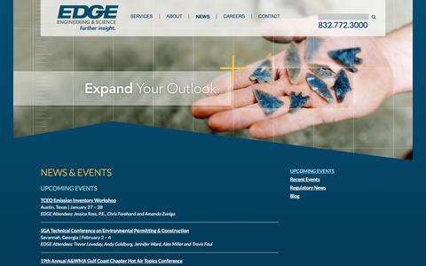 Screenshot of Press Page edge-es.com - EDGE News & Upcoming Events - captured Jan. 23, 2016