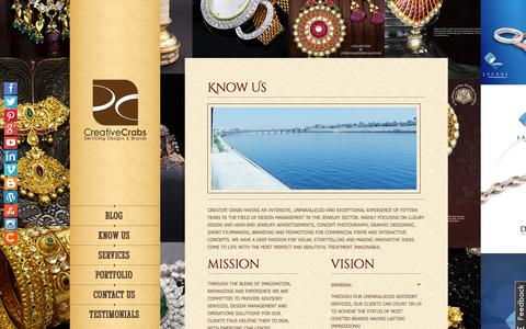 Screenshot of About Page creativecrabs.com - Advertising Agency India | Luxury Goods Branding | Creative Crabs - captured Oct. 3, 2014
