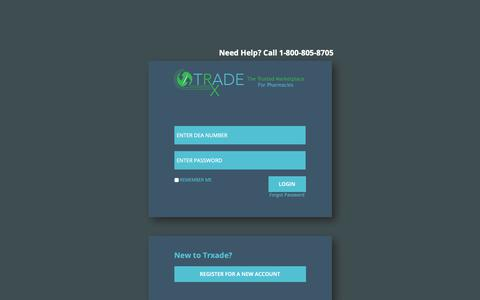 Screenshot of Login Page trxade.com - Trxade | Pharmaceutical Supplier and Wholesaler Solutions - captured Oct. 20, 2018