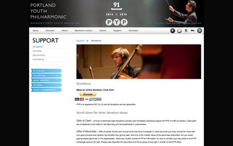 Screenshot of Support Page portlandyouthphil.org - The Portland Youth Philharmonic - captured Oct. 2, 2014