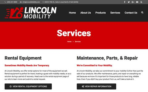 Screenshot of Services Page lincolnmobility.com - Services | Lincoln Mobility - captured Dec. 10, 2015