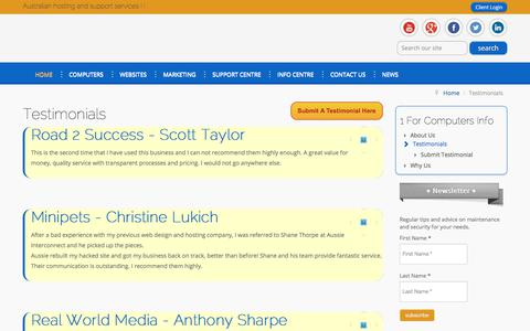 Screenshot of Testimonials Page 1forcomputers.com.au - Testimonials - 1 For Computers - captured June 19, 2017