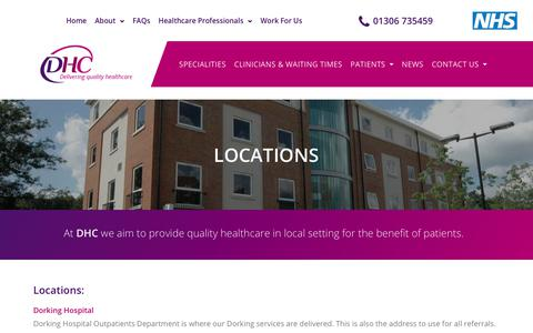 Screenshot of Locations Page dhcclinical.co.uk - DHC | Contact Details - captured Oct. 25, 2018