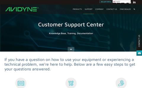 Screenshot of Support Page avidyne.com - Customer & Technical Support | Avidyne - captured Aug. 22, 2019