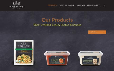 Screenshot of Products Page threebridges.com - Products - Three Bridges - captured March 17, 2016
