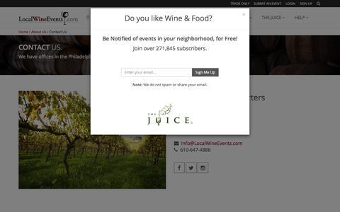 Screenshot of Contact Page localwineevents.com - Contact Us: LocalWineEvents.com : Wine, Food, Beer, Or Spirits - captured Jan. 31, 2016