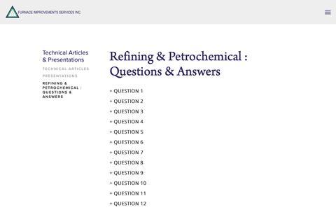 Screenshot of FAQ Page heatflux.com - Refining & Petrochemical : Questions & Answers — Furnace Improvements Services Inc. - captured Nov. 14, 2018