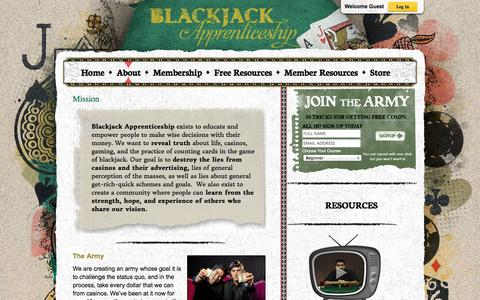 Screenshot of About Page blackjackapprenticeship.com - Mission - Blackjack Apprenticeship Card Counting Resources - captured Sept. 23, 2014