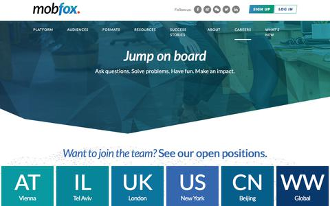 Screenshot of Jobs Page mobfox.com - Join the Mobfox Team - Careers - captured Sept. 21, 2018