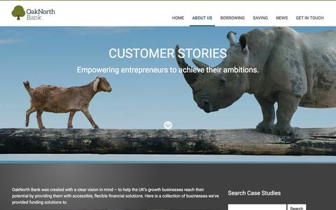 Screenshot of Case Studies Page oaknorth.com - OakNorth Bank - Changing the way businesses do banking - captured Feb. 22, 2016