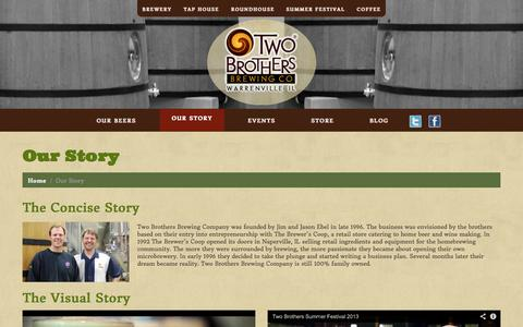 Screenshot of About Page twobrothersbrewing.com - Our Story |Two Brothers Brewing Company - captured Sept. 24, 2014