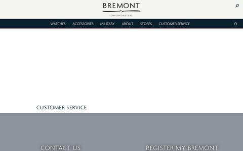 Screenshot of Support Page bremont.com - Customer Service — Bremont Watches UK - captured Sept. 23, 2018