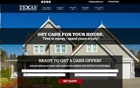 Screenshot of Home Page texashb.com - Texas Home Buyers - Home - captured June 21, 2015
