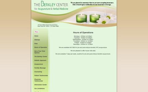 Screenshot of Hours Page berkleycenter.com - The Berkley Center for Reproductive Wellness - Latest News - captured Oct. 5, 2014