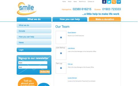 Screenshot of Team Page smilesupport.org.uk - Our Team - captured Oct. 8, 2014