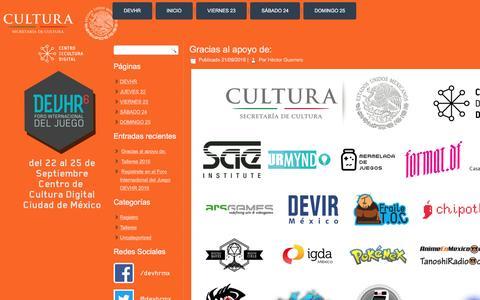 Screenshot of Home Page devhr.mx - DEVHR – Foro Internacional del Juego - captured Nov. 23, 2016