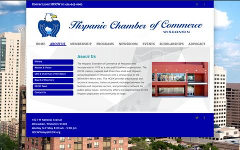Screenshot of About Page hccw.org - Hispanic Chamber of Commerce of Wisconsin   –  ABOUT US - captured Nov. 2, 2014