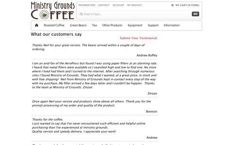 Screenshot of Testimonials Page ministrygrounds.com.au - Testimonial - captured Oct. 9, 2014