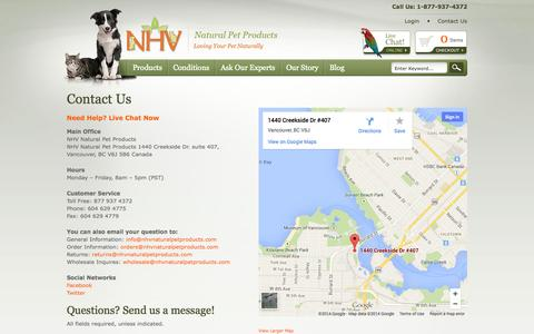Screenshot of Contact Page nhvnaturalpetproducts.com - Contact Us | NHV Natural Pet Products - captured Sept. 30, 2014