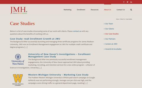 Screenshot of Case Studies Page jmhconsulting.com - Case Studies | JMH Consulting - Enrollment Management & Marketing for Higher Education - captured Oct. 2, 2018