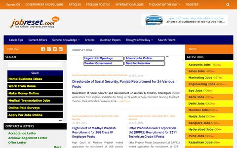 Screenshot of Blog jobreset.com - Government Jobs | Interview Tips | Articles | GK - captured Sept. 23, 2014