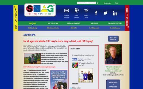 Screenshot of Home Page snaggolf.com - SNAG - captured Jan. 21, 2015