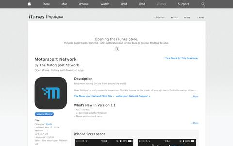 Screenshot of iOS App Page apple.com - Motorsport Network on the App Store on iTunes - captured Oct. 26, 2014