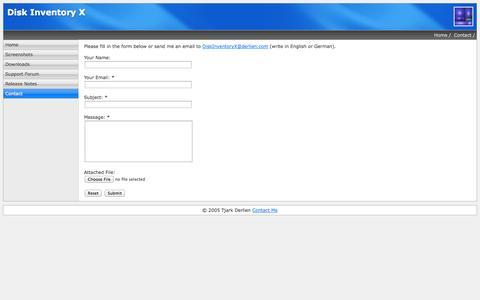 Screenshot of Contact Page derlien.com - Disk Inventory X - Contact Me - captured Oct. 30, 2014