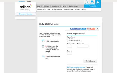 Reliant Bill Estimator