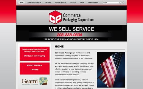 Screenshot of Home Page commercepackaging.com - Commerce Packaging – Commercial And Industrial - captured Sept. 30, 2014