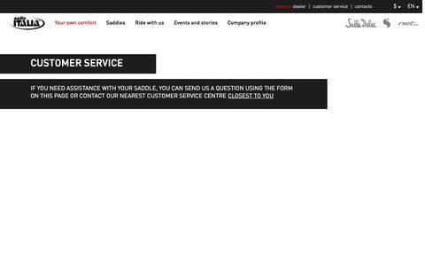 Screenshot of Support Page selleitalia.com - Customer service - Selle Italia - captured Nov. 29, 2016