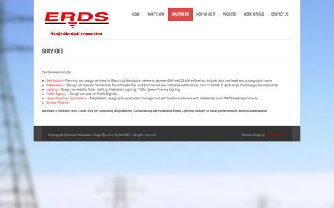 Screenshot of Services Page erds.com.au - Electrical Reticulation Design Services Pty LtdServices - Electrical Reticulation Design Services Pty Ltd - captured Nov. 3, 2016
