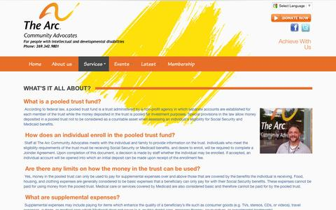 Screenshot of FAQ Page communityadvocates.org - The Arc Community Advocates > Services > Pooled Amenities Trust > FAQ - captured Feb. 13, 2016